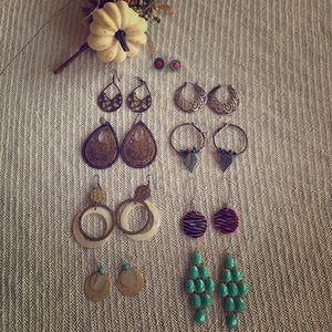 Lot of 9 pair of earrings